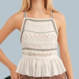 NWT Free People Camille Embroidered Ivory Cami